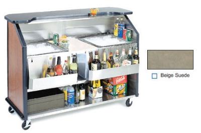 """Lakeside 886 63.5"""" Portable Bar w/ (2) 40-lb Ice Bin, Speed Rail, Beige Suede"""
