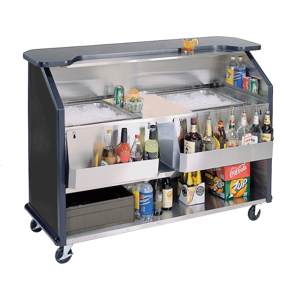 "Lakeside 886 BLK 63.5"" Portable Bar w/ (2) 40-lb Ice Bin, Speed Rail, Black"