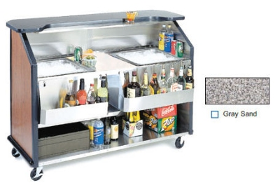 "Lakeside 886 GRSAN 63.5"" Portable Bar w/ (2) 40-lb Ice Bin, Speed Rail, Gray Sand"