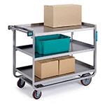 Lakeside 954 3-Level Stainless Utility Cart w/ 1000-lb Capacity, Raised Ledges