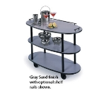 Lakeside 36300 Rounded Oval Service Cart w/ 3-Shelves & High Impact Edge, Casters