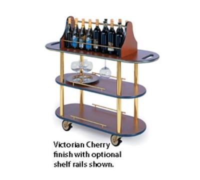 Lakeside 37207 Oval Wine Cart w/ Top Wine Rack & Stem Glass Hanging Brackets