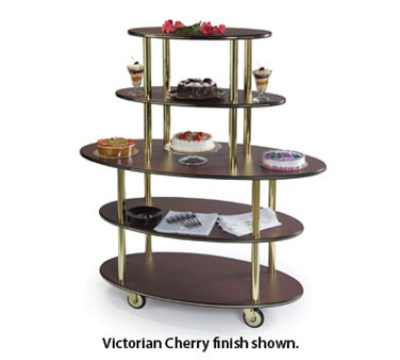 37212 50-in Rounded Oval Dessert Cart w/ 5-Open Shelves & High Impact Edge