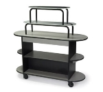 "Lakeside 37218 55"" Rounded Oval Dessert Cart w/ 3-Open & 2 Acrylic Over Shelves"