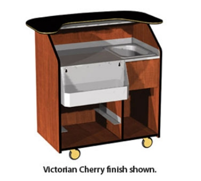 Lakeside 68400 44.5-in Portable Bar w/ 40-lb Ice Bin & 7-Bottle Speed Rail, Wood Laminate