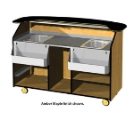 "Lakeside 68500 66.25"" Portable Bar w/ (2) 40-lb Ice Bins, Wood Laminate"
