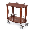 "Lakeside 70010 33"" Oval Wood Veneer Serving Cart w/ Shelf"