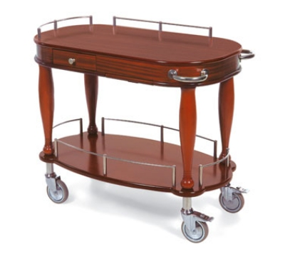 Lakeside 70011 Oval Wood Veneer Serving Cart w/ Drawer & Pull-Out Shelf
