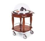 Lakeside 70021 Round Wood Veneer Cheese Dessert Cart w/ Acrylic Roll Top Dome
