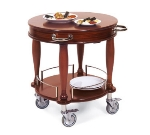 "Lakeside 70029 29.5"" Round Wood Veneer Serving Cart w/ Pull-Out Shelf"