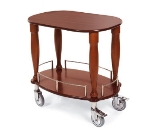 "Lakeside 70030 33"" Oval Wood Veneer Gueridon Cart w/ Rails & Shelf"