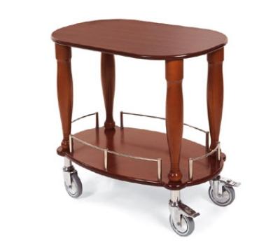 "Lakeside 70030 33"" Oval Wood Veneer Gueridon Cart w/ Rails & Shelf"