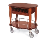 "Lakeside 70036 33"" Oval Wood Veneer Gueridon Cart w/ Cutlery Compartment"