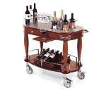 Lakeside 70038 Oval Wood Veneer Wine Cart w/ Drawer & Pull-Out Shelf, Wine Caddy