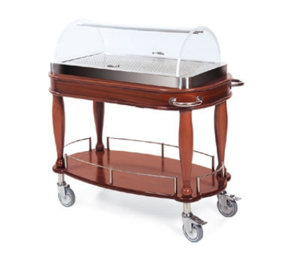 Lakeside 70126 Oval Wood Veneer Entree Cart w/ Acrylic Roll Top Dome