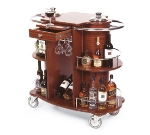 Lakeside 70260 Oval Wine Liquor Cart w/ Recessed Ice Buckets & 2-Shelves