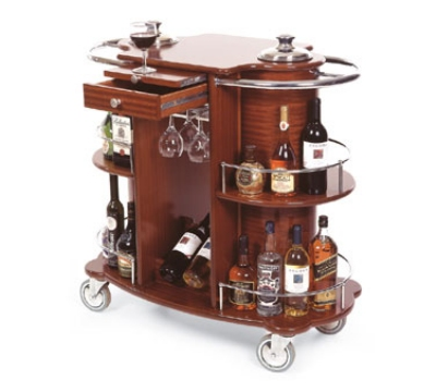 70260 Oval Wine Liquor Cart w/ Recessed Ice Buckets & 2-Shelves