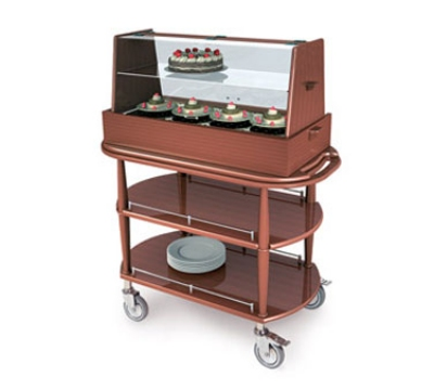 Lakeside 70358 Wood Veneer Pastry Cart w/ Acrylic Hinged Dome & Shelf, 43-3/8""