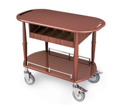 Lakeside 70458 Oval Wood Veneer Gueridon Spice Cart w/ Cutlery Compartment