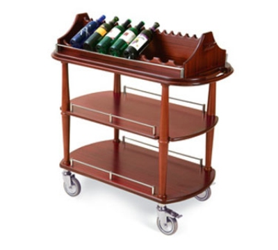 Lakeside 70516 Oval Wine Cart w/ Hanging Stemware Rack, Removable Caddy Top