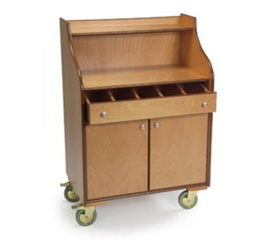 Lakeside 73565 Wood Veneer Mobile Wait Stand w/ Drawer & Hinge Doors, Blond
