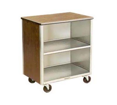 "Lakeside 626 WAL 28.25""L Metal Bus Cart w/ (3) Levels, Shelves, Walnut"