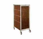 "Lakeside 645 WAL Enclosed Bus Cart w/ (16) 14 x 18"" Shelves, Walnut"