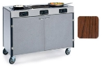 "Lakeside 2080 WAL 35.5"" High Mobile Cooking Cart w/ 3 Induction Stove, Walnut"