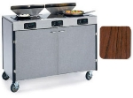 "Lakeside 2085 VCHER 40.5"" High Mobile Cooking Cart w/ 3 Induction Stove, Victorian Cherry"