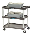 Lakeside 2503 3-Shelf Utility Cart w/ Push Handles, 300-lb Capacity, Charcoal
