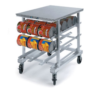 "Lakeside 346 35""H Mobile Can Rack w/ (54) #10 or (72) #5 Capacity, Work Top"