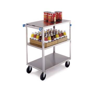 Lakeside 352 3-Level Stainless Utility Cart w/ 500-lb Capacity, Flat Ledges