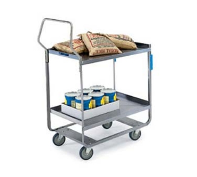 Lakeside 4558 2-Level Stainless Utility Cart w/ 700-lb Capacity, Raised Ledges