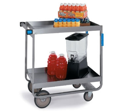 Lakeside 557 2-Level Stainless Utility Cart w/ 700-lb Capacity, Raised Ledges