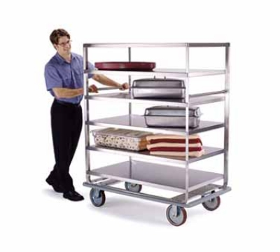 593 Banquet Cart w/ (4) 28 x 70-in Shelves, 1000-lb, 8-in Casters