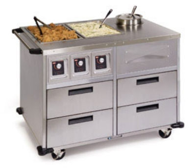 Lakeside 6745 46-in Mobile Food Station w/ 2-Dry Heat & 1-Soup Wells, 220 V
