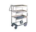 7025 Utility Cart w/ (3) 21 x 33-in Shelves, 700-lb Capacity, Stainless