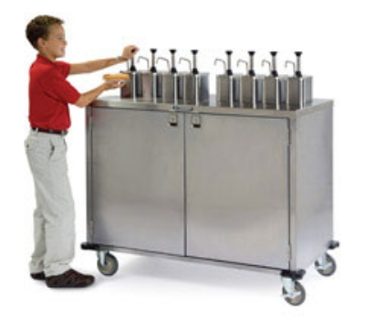 "Lakeside 70210 Pump Style Condiment Cart w/ (6) Dispensers, 47""H"