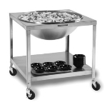 "Lakeside 713 Mobile Bowl Stand w/ 21.25"" Top Cutout & Undershelf, Stainless"