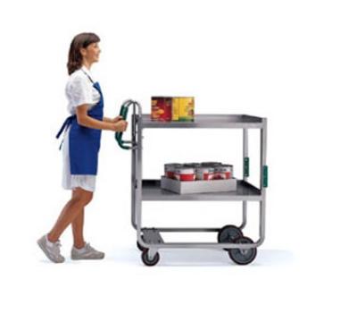 Lakeside 7130 2-Level Stainless Utility Cart w/ 1000-lb Capacity, Raised Ledges