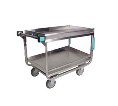 Lakeside 725 2-Shelf Utility Cart w/ Guard Rails, 18 x 27-in Shelves, 700-lb