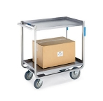 Lakeside 8820 2-Level Stainless Utility Cart w/ 1500-lb Capacity, Raised Ledges