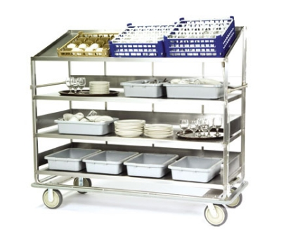 Lakeside B599 Soiled Dish Breakdown Cart w/ 3-Flat & 1-Angle Shelves, 75.5""