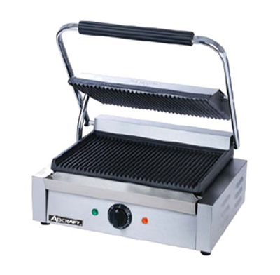 Adcraft SG-811E Commercial Panini Press w/ Cast Iron Grooved Plates, 120v