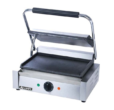 Adcraft SG-811E/F Commercial Panini Press w/ Cast Iron Smooth Plates, 120v