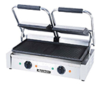 Adcraft SG-813 Double Commercial Panini Press w/ Cast Iron Grooved Plates, 120v