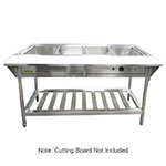 "Adcraft EST-240KIT 4-Well Water Bath Steam Table Kit - Tray Rack, 9"" Cutting Board, Stainless"