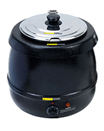 Adcraft SK-600 11-qt Soup Kettle w/ Adjustable Temp Control & Hinged Lid, Black