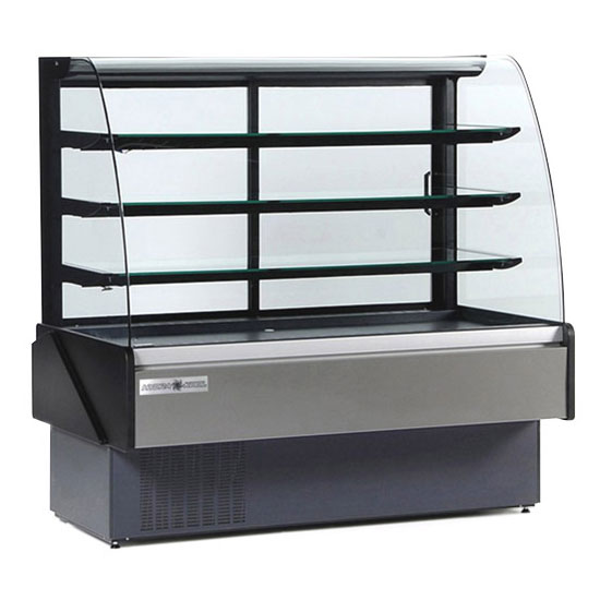"Kool-It KBD-60-S 60"" Full Service Bakery Case w/ Curved Glass - (4) Levels, 115v"