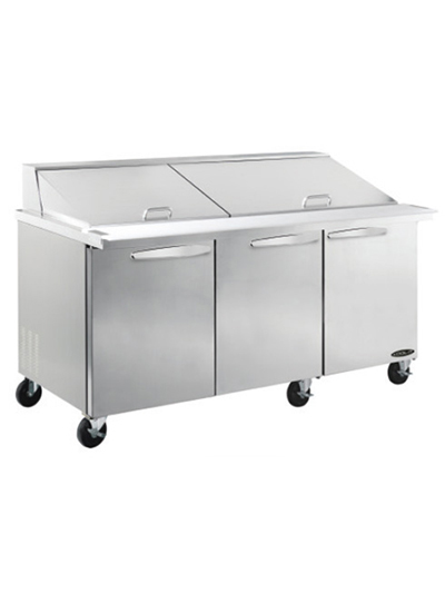 "Kool-It KSTM-72-3 72.4"" Sandwich/Salad Prep Table w/ Refrigerated Base, 115v"